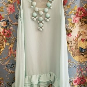 Charlotte Russe Sheer Mint Tank With Ruffles